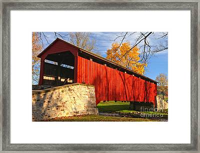 Afternoon Light At The Poole Forge Covered Bridge Framed Print