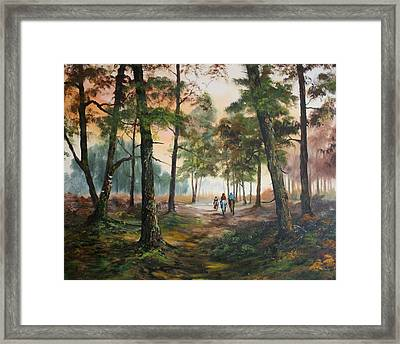 Afternoon Ride Through The Forest Framed Print