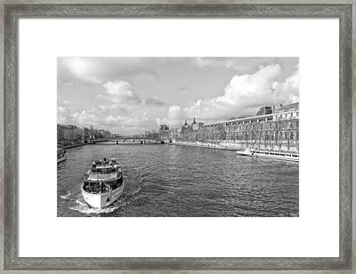 Afternoon River Cruise On The Seine - Paris Framed Print