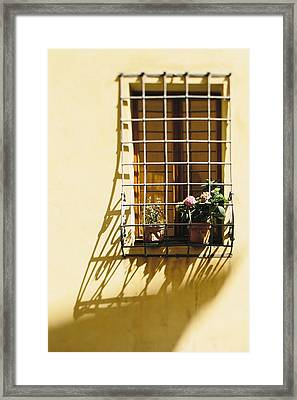 Afternoon Shadow In Montepulciano Framed Print by Clint Brewer