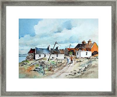 Afternoon Stroll In Dugort Achill Framed Print by Val Byrne