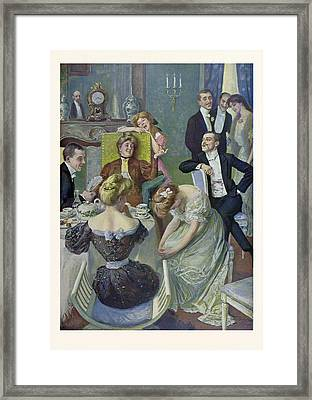 Afternoon Tea, German, Tea, Lady, Ladies, Men, Table Framed Print