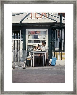 Afternoon Tea With Mum At The Seaside Framed Print by Daniel Blatt