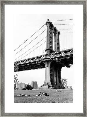 Afternoon Under The Manhattan Bridge - Brooklyn Bridge Park Framed Print