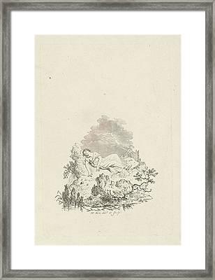Against Rock Sleeping Woman, Hermanus Fock Framed Print