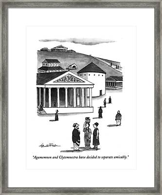 Agamemnon And Clytemnestra Have Decided Framed Print by J.B. Handelsman