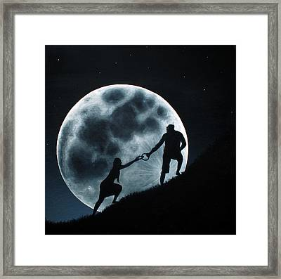 Agape Under A Full Moon Rising Framed Print