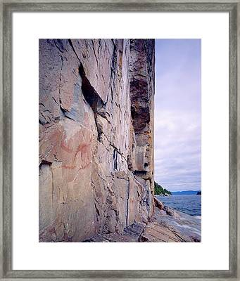 Agawa Indian Pictographs Framed Print by Tim Hawkins