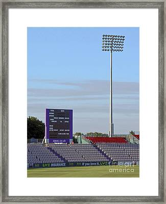 Ageas Bowl Score Board And Floodlights Southampton Framed Print by Terri Waters