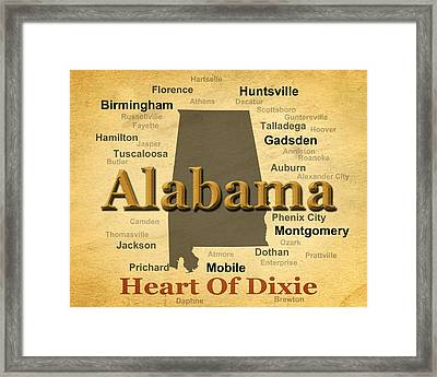 Aged Alabama State Pride Map Silhouette  Framed Print