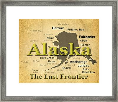 Aged Alaska State Pride Map Silhouette  Framed Print by Keith Webber Jr