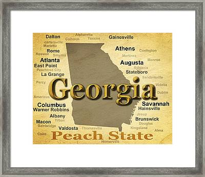 Aged Georgia State Pride Map Silhouette  Framed Print by Keith Webber Jr