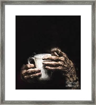 Aged Hands Holding Mug Framed Print