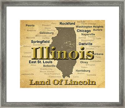Aged Illinois State Pride Map Silhouette  Framed Print by Keith Webber Jr