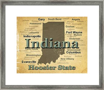 Aged Indiana State Pride Map Silhouette  Framed Print