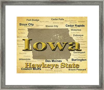 Aged Iowa State Pride Map Silhouette  Framed Print by Keith Webber Jr