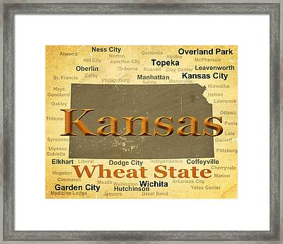 Aged Kansas State Pride Map Silhouette  Framed Print by Keith Webber Jr