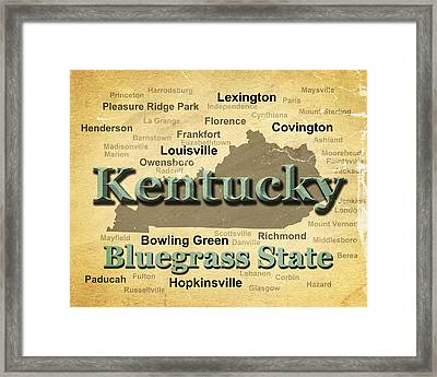 Aged Kentucky State Pride Map Silhouette  Framed Print by Keith Webber Jr