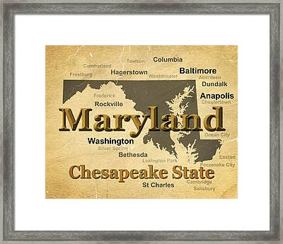 Aged Maryland State Pride Map Silhouette  Framed Print