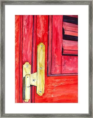 Aged Window Shutter Hinge Framed Print by Carlin Blahnik