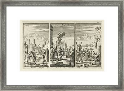 Aggravated Assault Of Slaves By The Turks Framed Print by Jan Luyken And Jan Claesz Ten Hoorn