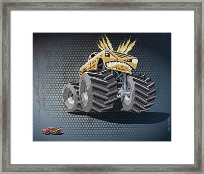 Aggressive Monster Truck Grunge Color Framed Print by Frank Ramspott
