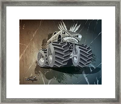 Aggressive Monster Truck Grunge Framed Print