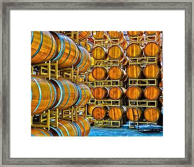 Aging Wine Barrels Framed Print