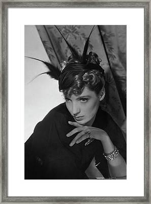 Agneta Fischer Wearing A Reboux Hat Framed Print