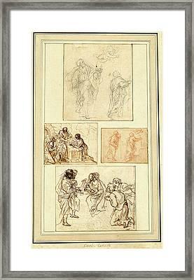 Agostino Masucci, Italian 1691-1758, Studies Of Saint Framed Print