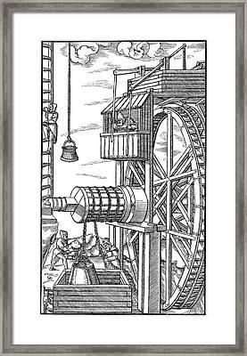 Agricola Water Pump, 1556 Framed Print by Granger