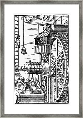 Agricola Waterwheel, 1556 Framed Print by Granger
