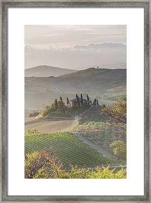 Agricultural Landscape, Val D'orcia Framed Print