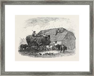 Agricultural Pictures  Thatching Framed Print by English School