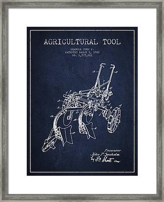 Agricultural Tool Patent From 1926 - Navy Blue Framed Print by Aged Pixel