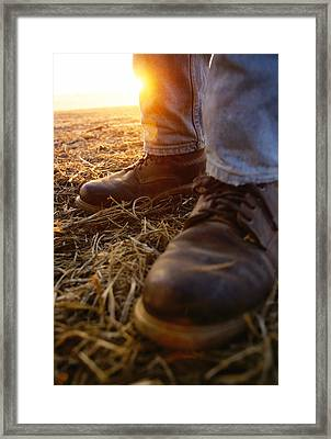 Agriculture - Closeup Of A Farmers Framed Print by Andrew Sacks