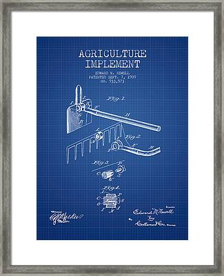Agriculture Implement Patent From 1909 - Blueprint Framed Print by Aged Pixel