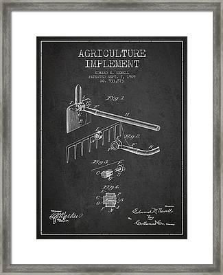 Agriculture Implement Patent From 1909 - Dark Framed Print