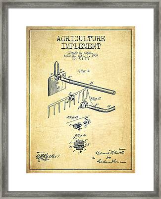 Agriculture Implement Patent From 1909 - Vintage Framed Print by Aged Pixel