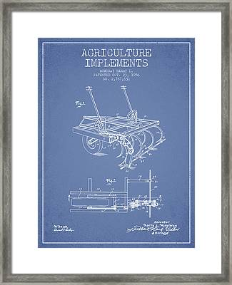 Agriculture Implements Patent From 1956 - Light Blue Framed Print
