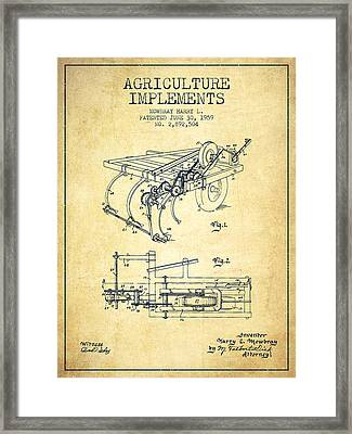 Agriculture Implements Patent From 1959 - Vintage Framed Print by Aged Pixel