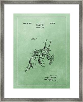Agriculture Plow Patent Framed Print by Dan Sproul