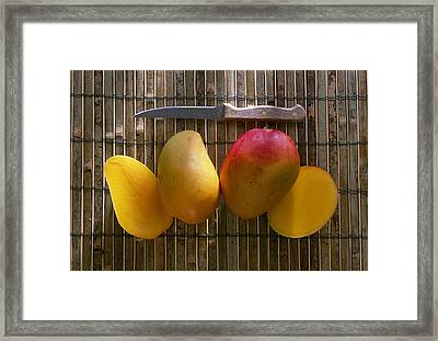 Agriculture - Sliced Sunrise Mango Framed Print by Daniel Hurst