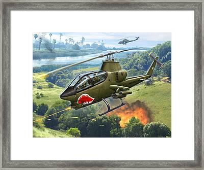 Ah-1g Huey Cobra   The Cobras Venom Framed Print by Stu Shepherd