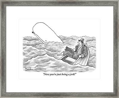 Ahab In A Rowboat Framed Print by David Borchart