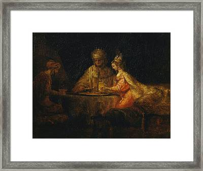 Ahasuerus And Haman At The Feast Of Esther Framed Print
