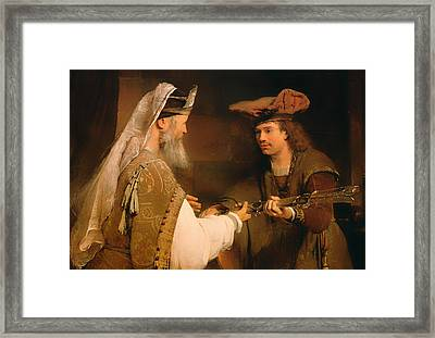 Ahimelech Giving The Sword Of Goliath To David Framed Print by Mountain Dreams