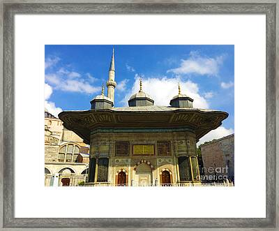 Ahmet II Fountain Next To Topkapi Palace Main Entry With A Minaret Of Hagia Sophia Palace Istanbul  Framed Print by Ralph A  Ledergerber-Photography