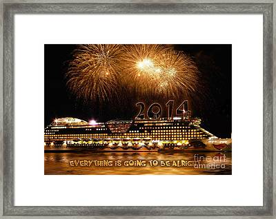 Aida Cruise Ship 2014 New Year's Day New Year's Eve Framed Print by Paul Fearn