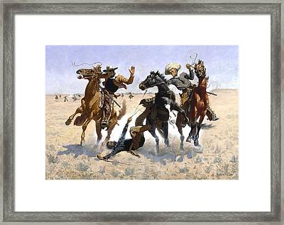 Aiding A Comrade Framed Print by Fredrick Remington